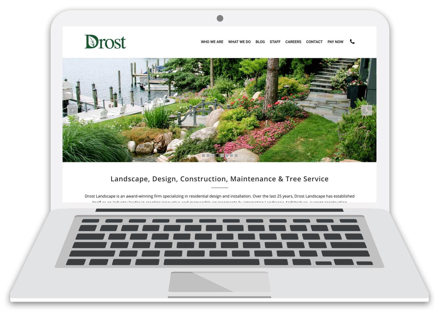drost landscape website laptop