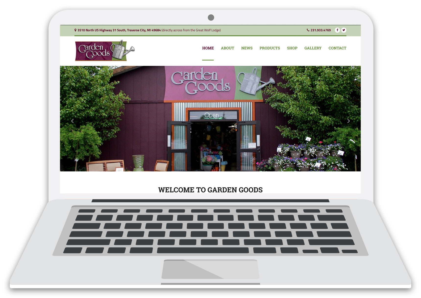 garden goods website laptop