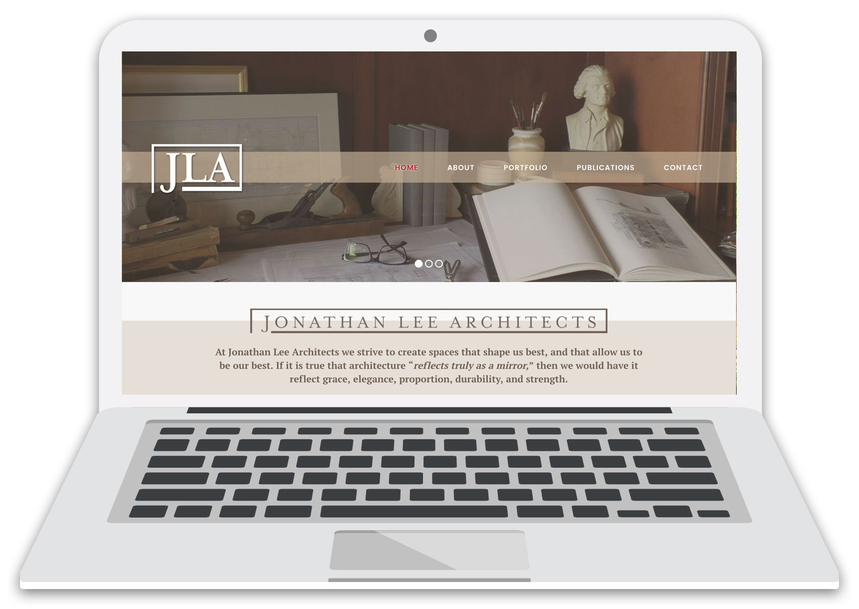 jonathan lee architects website laptop