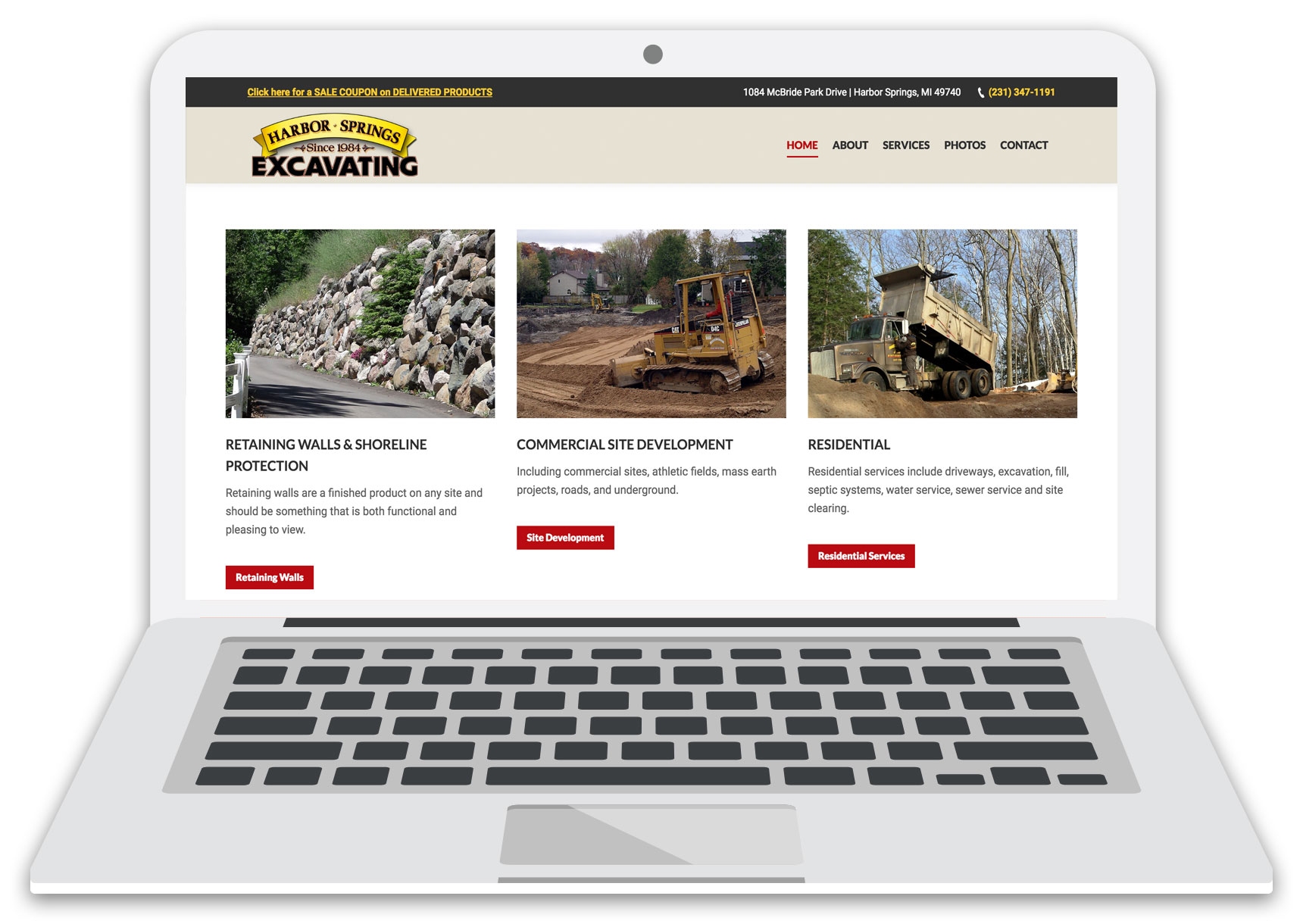 harbor springs excavating website laptop